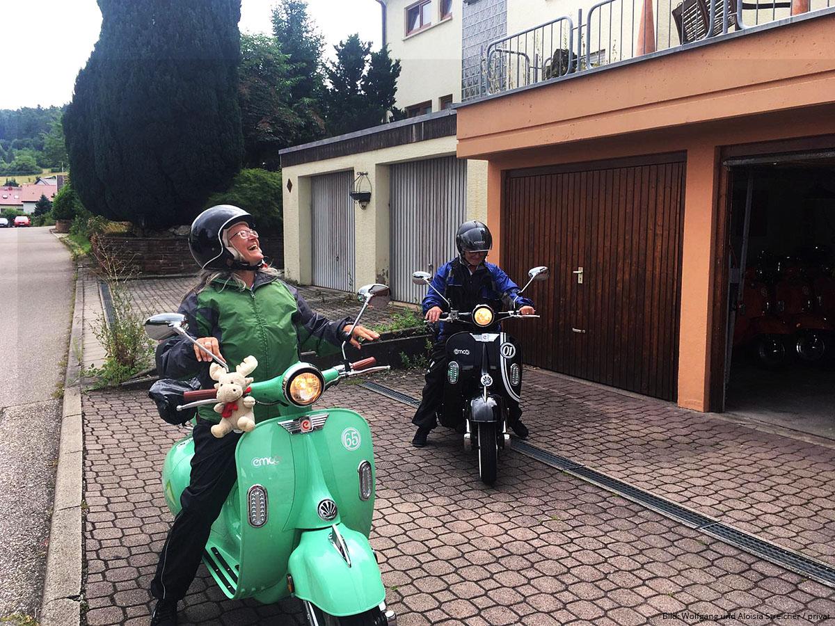 GLÜCKLICHE ANKUNFT Wieder in Merklingen, nach rund 650 Kilometer E-Roller-Abenteuer | Foto: Wolfgang und Aloisia Streicher (privat)