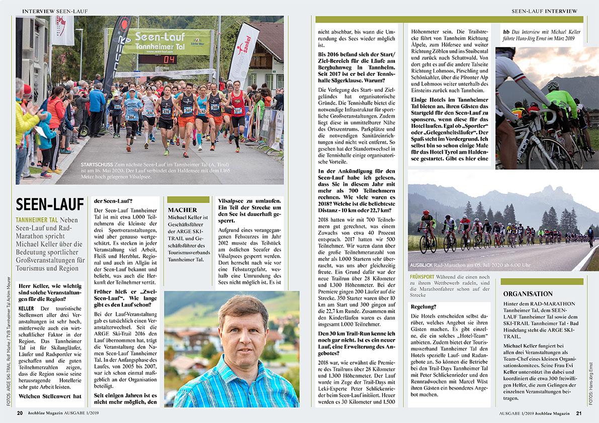 hochblau Magazin 1/2019 - Auszug Seiten 20-21: Interview mit Michael Keller | © hochblau Verlag Hans-Jörg Ernst