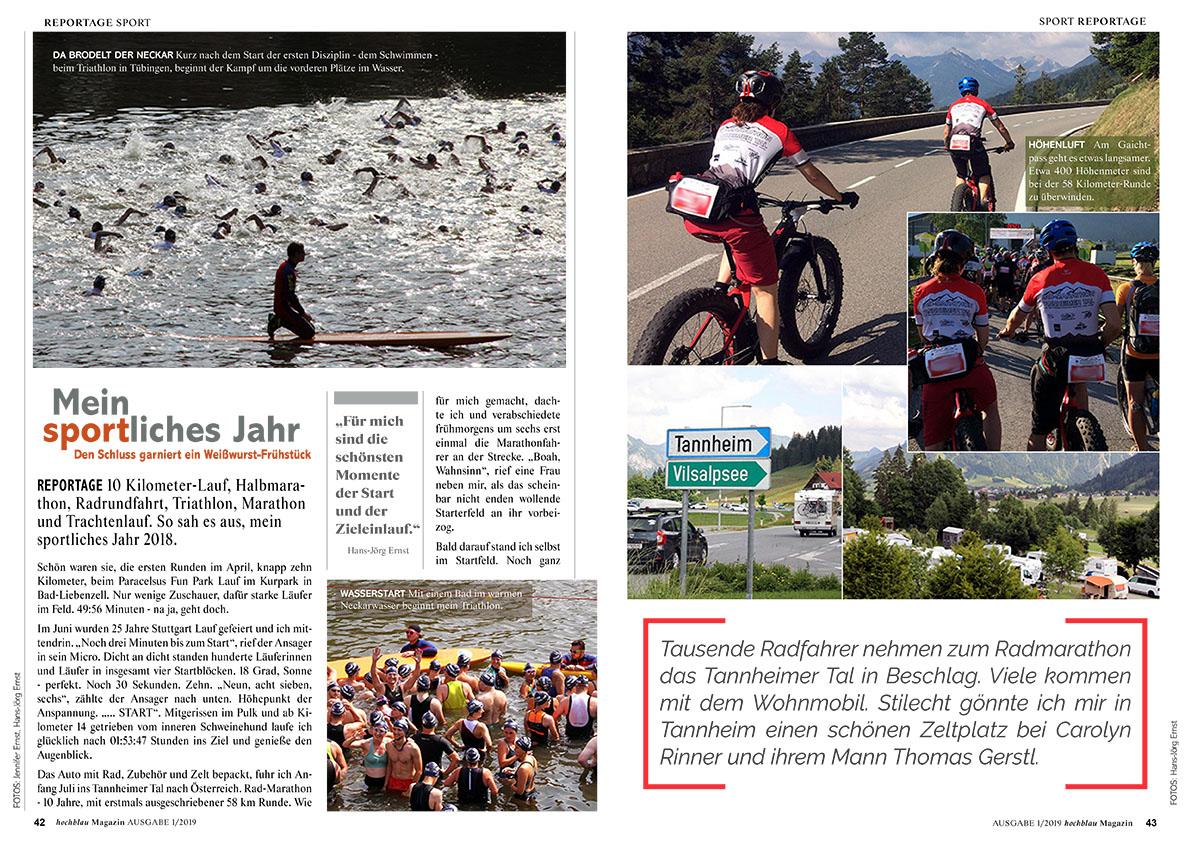 hochblau Magazin 1/2019 - Auszug Seiten 42-45: Reportage: Mein sportliches Jahr | © hochblau Verlag Hans-Jörg Ernst