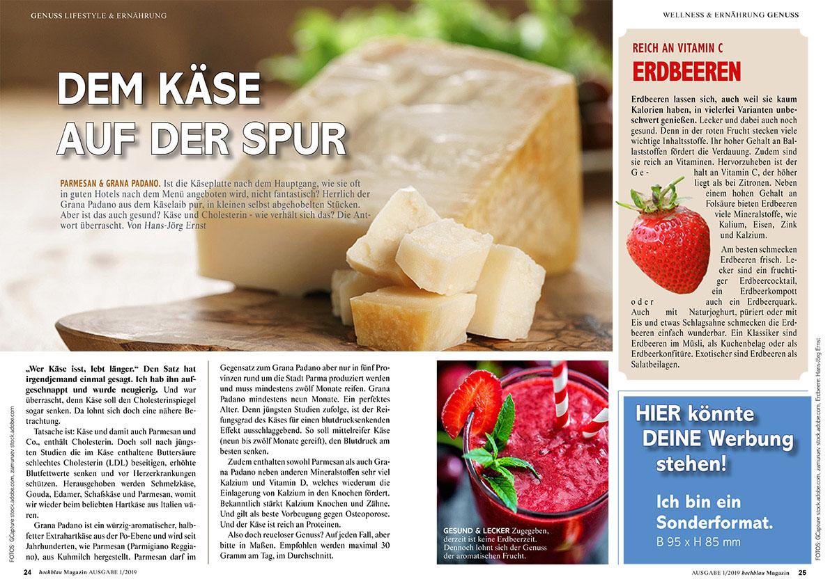 hochblau Magazin 1/2019 - Auszug Seiten 24-25: Ernährung: Dem Käse auf der Spur und Erdbeeren | © hochblau Verlag Hans-Jörg Ernst