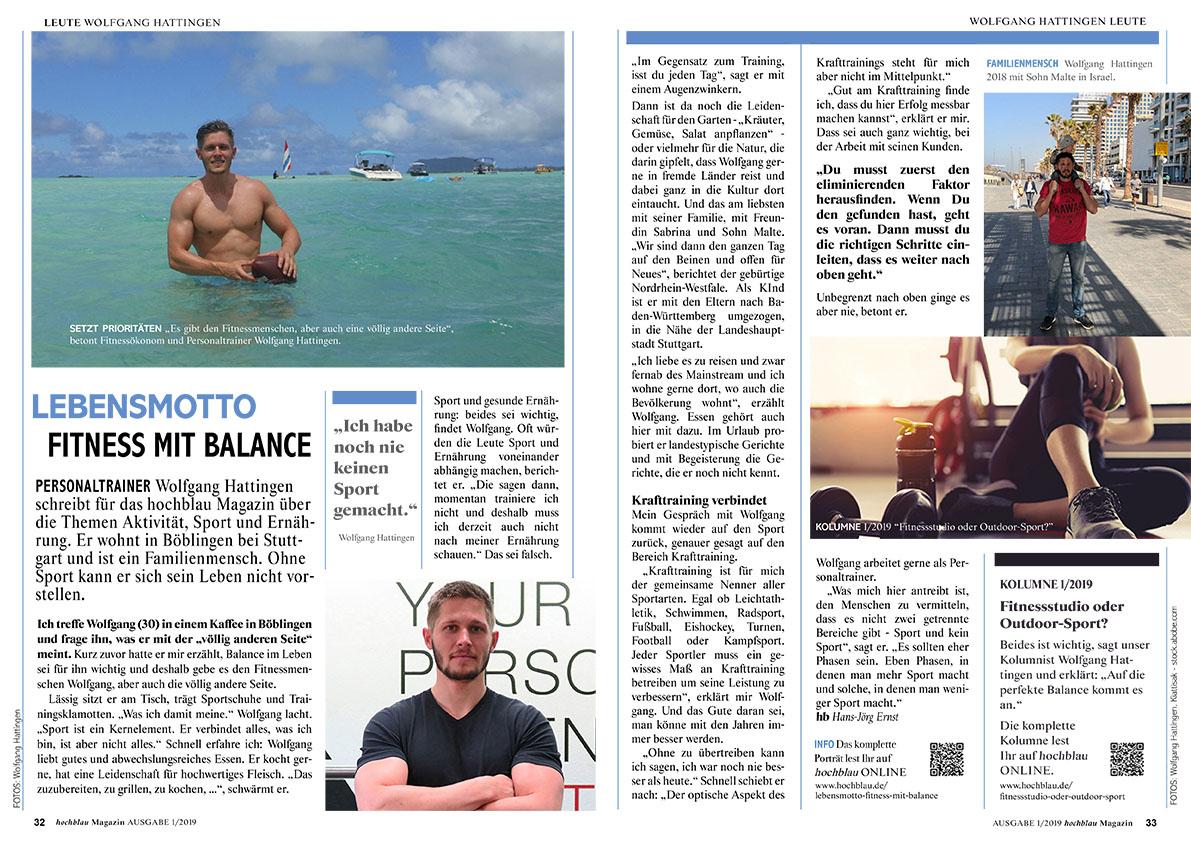 hochblau Magazin 1/2019 - Auszug Seiten 32-33: Porträt Wolfgang Hattingen | © hochblau Verlag Hans-Jörg Ernst