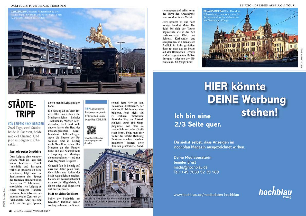 hochblau Magazin 1/2019 - Auszug Seiten 38-39: Reportage: Von Leipzig nach Dresden | © hochblau Verlag Hans-Jörg Ernst