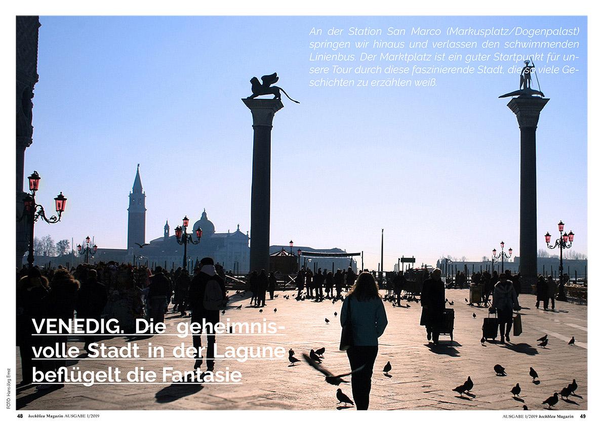 hochblau Magazin 1/2019 - Auszug Seiten 48-53: Venedig und Jean Secré Kurzgeschichte La Mia Principessa | © hochblau Verlag Hans-Jörg Ernst