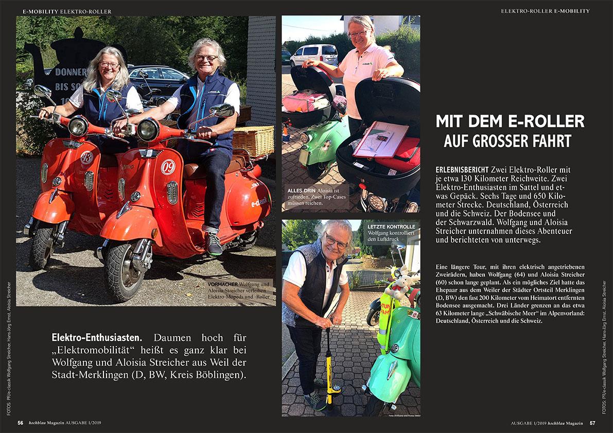 hochblau Magazin 1/2019 - Auszug Seiten 56-61: Reportage: Mit dem Elektro-Roller auf grosser Fahrt | © hochblau Verlag Hans-Jörg Ernst