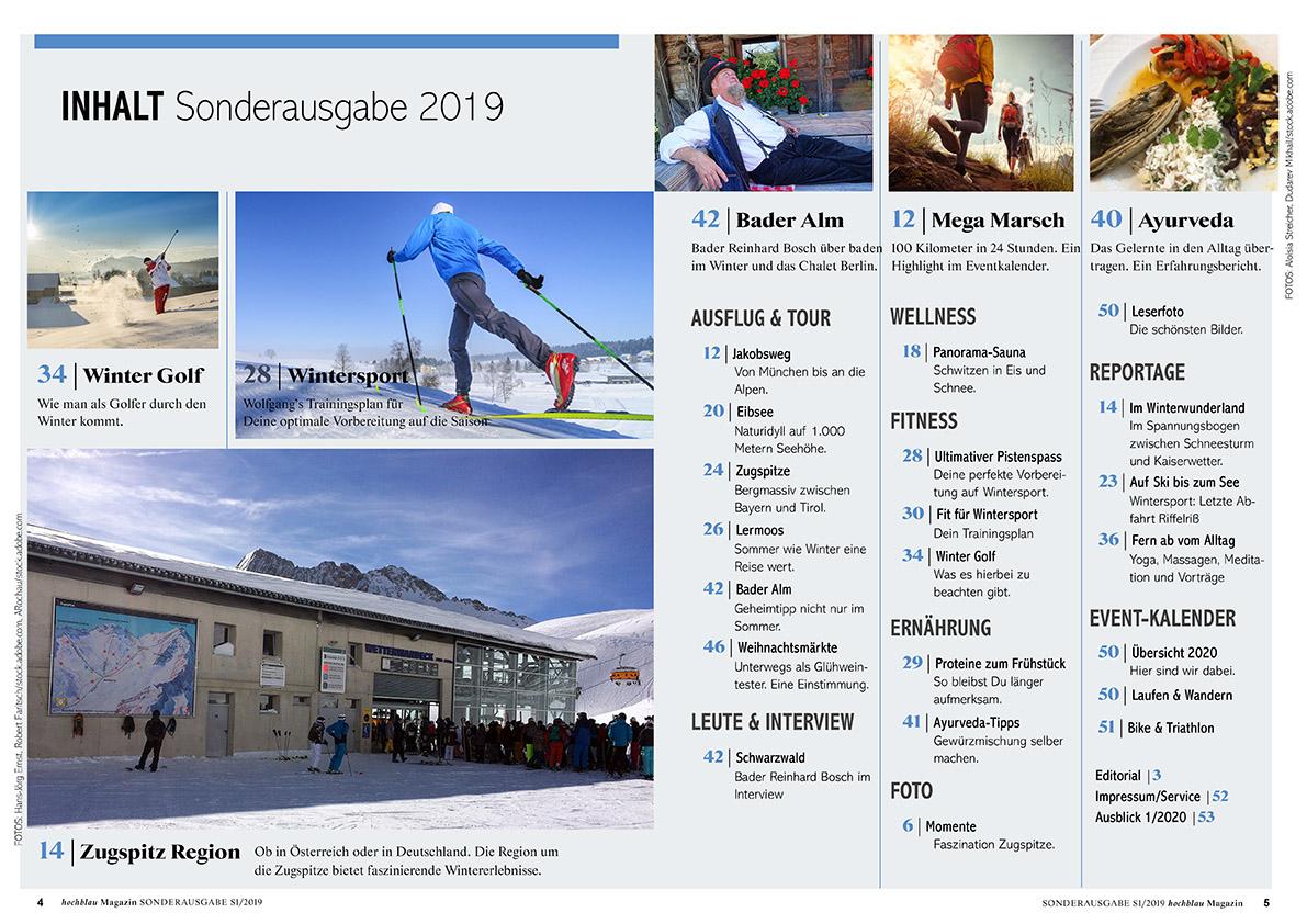 hochblau Magazin S1/2019 Inhaltsverzeichnis (Seiten 4-5). Zum Vergrößern bitte anklicken!   Copyright: hochblau Verlag Hans-Jörg Ernst