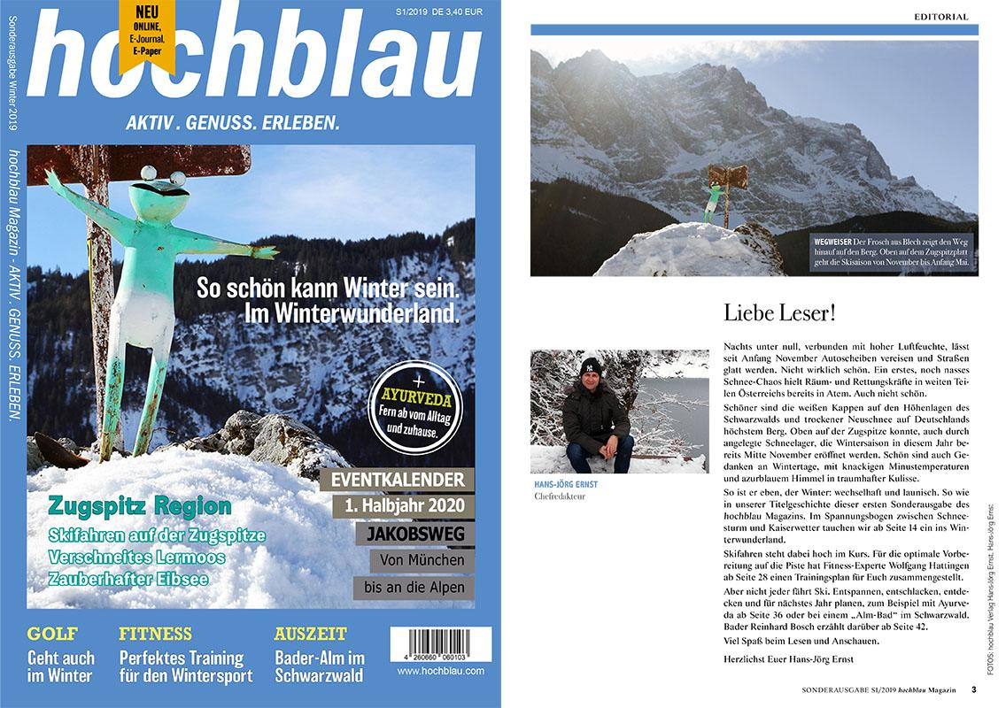 Schau mal rein in's hochblau Magazin. Und entdecke unsere Themen in der Sonderausgabe 2019. | Copyright: hochblau Verlag Hans-Jörg Ernst