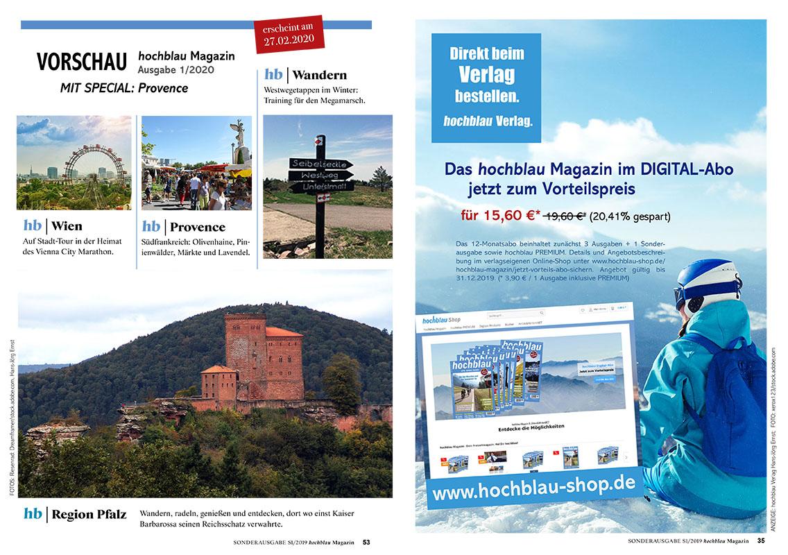 Nächste Ausgabe: hochblau Magazin Ausgabe 1/2020. Erscheint am 27.02.2020. | Copyright: hochblau Verlag Hans-Jörg Ernst