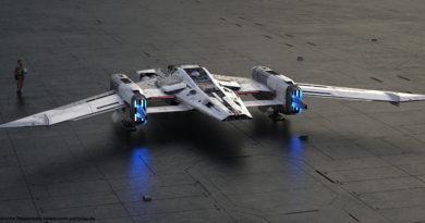 """Modell des Fantasie-Raumschiff """"Tri-Wing S-91x Pegasus Starfighter"""""""