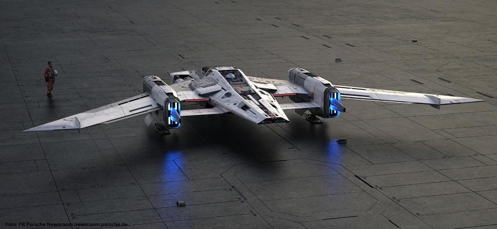 """PORSCHE UND LUCASFILM Modell des Fantasie-Raumschiff """"Tri-Wing S-91x Pegasus Starfighter"""""""