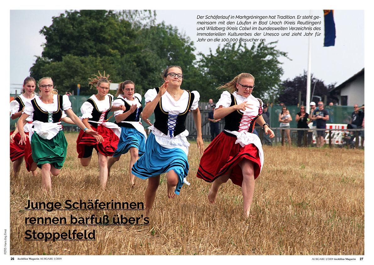 hochblau Magazin 1/2019 - Auszug Seiten 26-31: Region: Barfuss über's Stoppelfeld. Der Schäferlauf in Markgröningen. | © hochblau Verlag Hans-Jörg Ernst