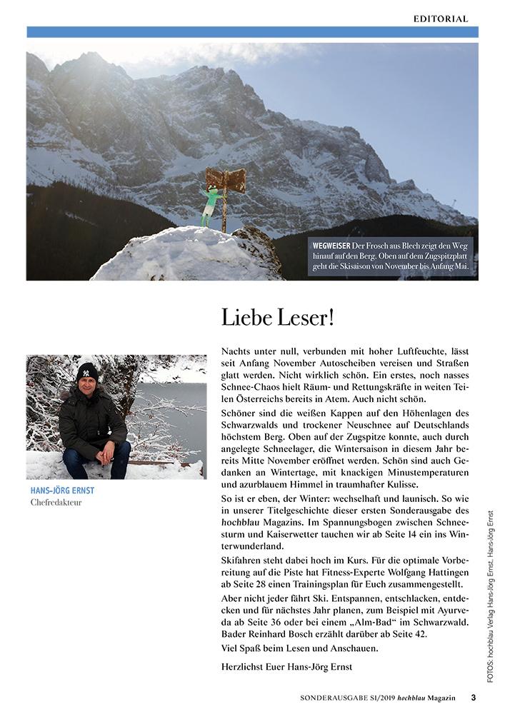 hochblau Magazin Sonderausgabe 2019 - Auszug Seite 3: Editorial von Chefredakteur Hans-Jörg Ernst: Liebe Leser! | © hochblau Verlag Hans-Jörg Ernst