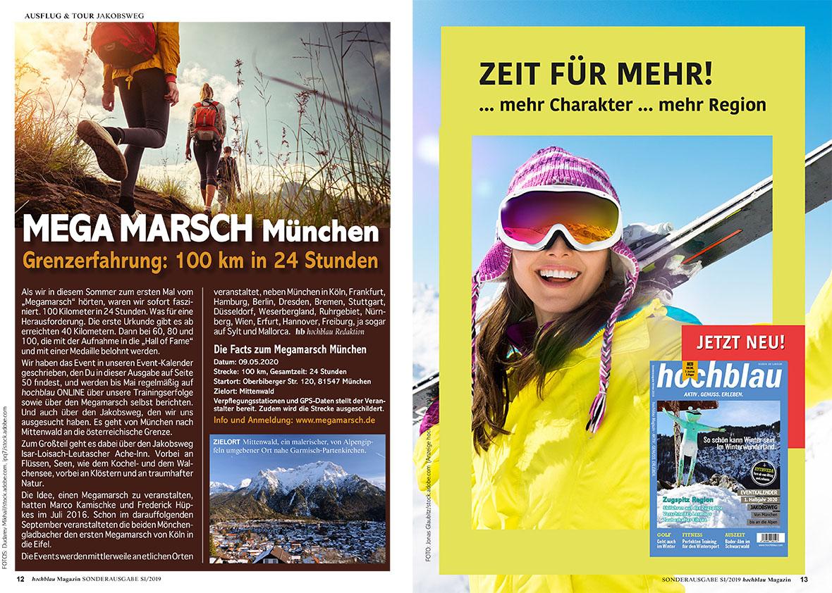 hochblau Magazin S1/2019 - Auszug Seiten 12-13: MEGA MARSCH München - Grenzerfahrung: 100 km in 24 Stunden + ZEIT FÜR MEHR - hochblau Magazin