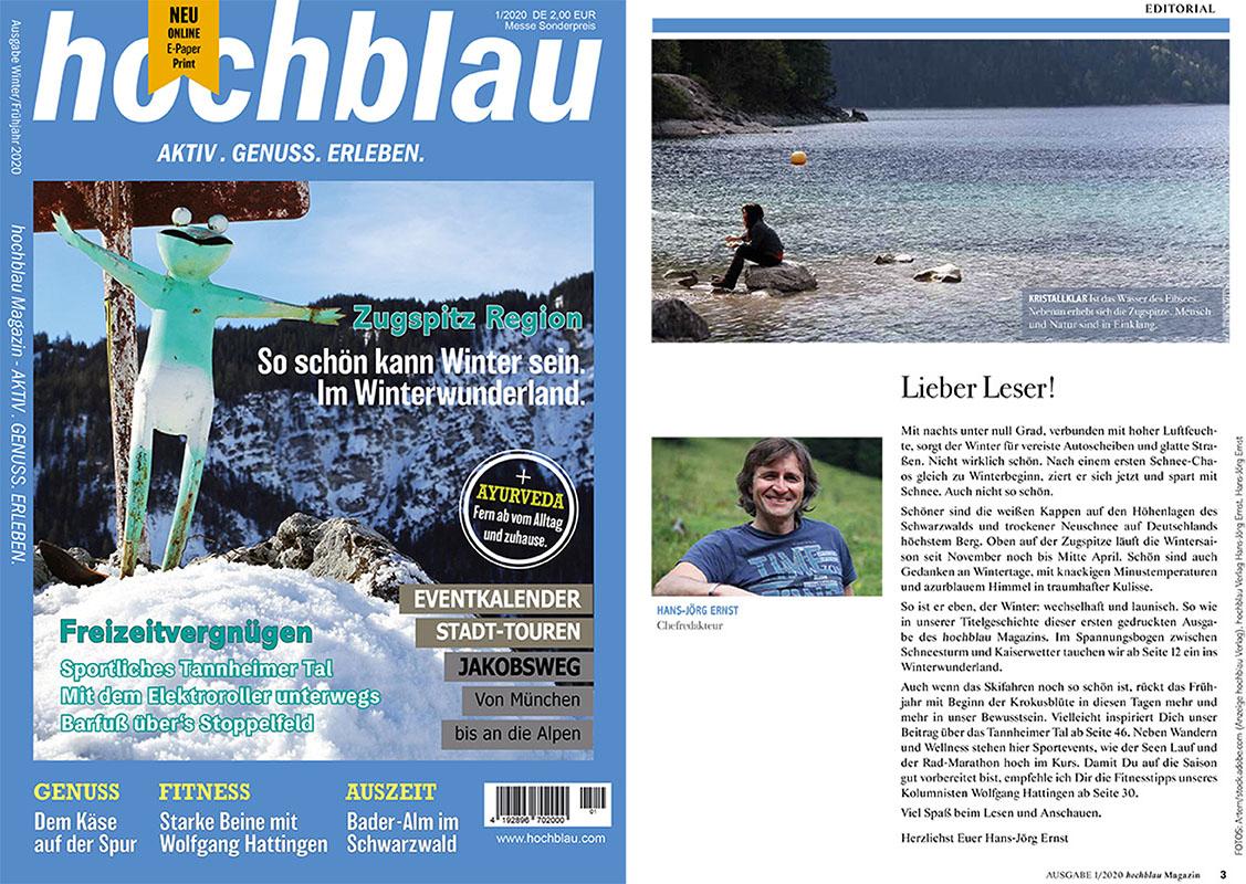 Schau mal rein in's hochblau Magazin. Und entdecke unsere Themen in der Messe Ausgabe 1/2020.