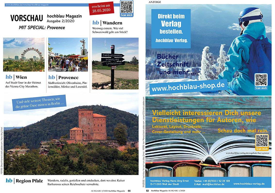 Nächste Ausgabe: hochblau Magazin Ausgabe 2/2020. Erscheint am 28.05.2020.