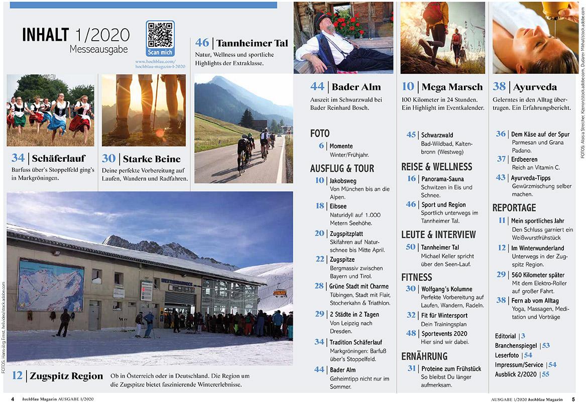 hochblau Magazin Messe Ausgabe 1/2020 Inhaltsverzeichnis (Seiten 4-5). Zum Vergrößern bitte anklicken!