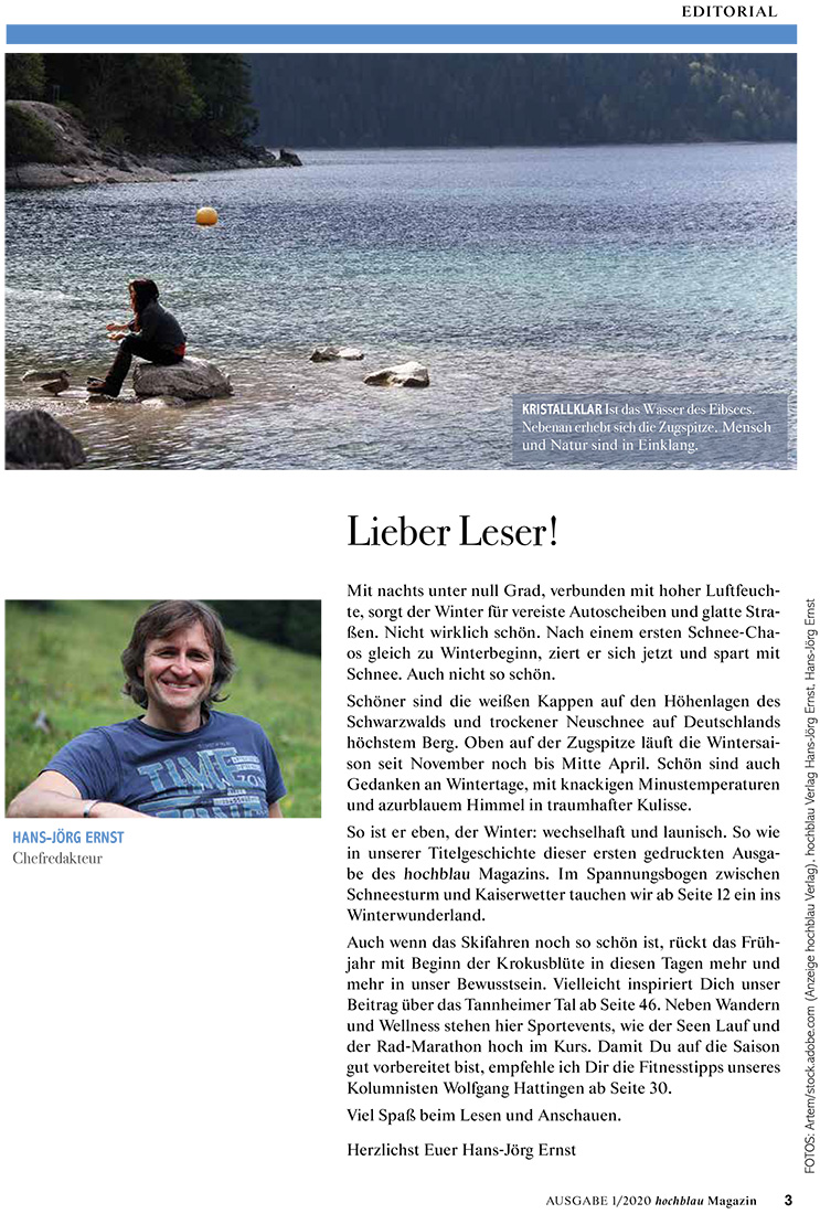 hochblau Magazin Ausgabe 1/2020 - Editorial Seite 3 - Liebe Leser!