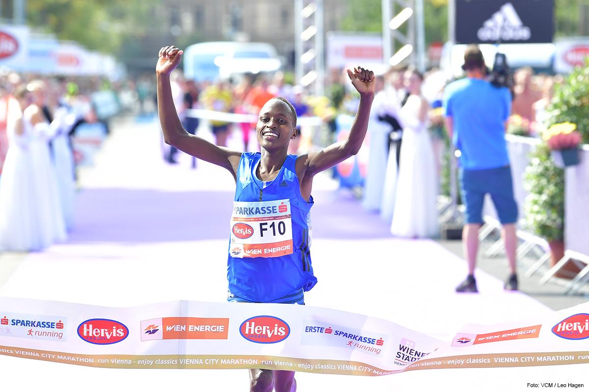 MARATHONSIEGERIN Marathondebütantin Vibian Chepkirui läuft die Distanz in Wien in 2:24:29 Stunden